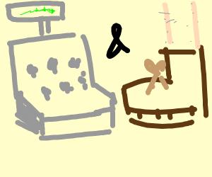 A cash register and a shoe