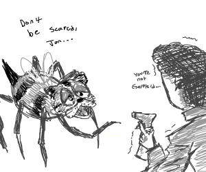 Garfield bee spider says dont be scared, jon