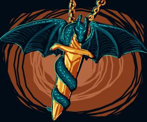 Dragon on a sword pendant