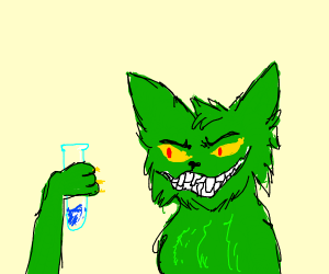 Green cat with a test tube