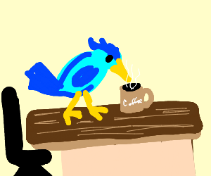 Bird works at office who like to drink coffee