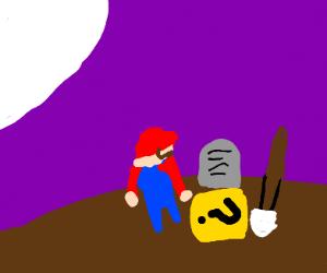 mario digging a mystery blocks grave