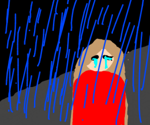 red head girl crying in the rain