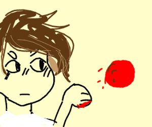 Guy trowing an overly red meatball