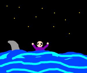 man with short torso drowning yells help