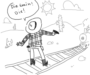 A man is about to shoot a Train.