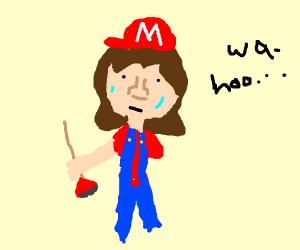 Mario exhausted after his plumbing duties