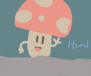 Cute happy mushroom waving
