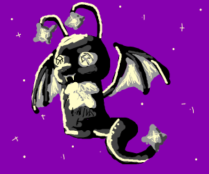 Black happy star dragon