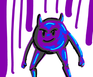 purple demon emoji with arms and legs