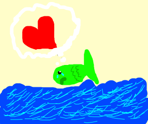 a sad green fish just wants to be loved