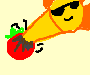 A Tomato being burned by the sun