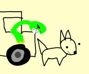 evil green dino driver