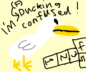 duck is ducking confused by hopscotch