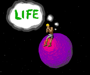 person sitting on a planet thinking about lif