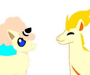 Galarian Ponyta & regular Ponyta (my heart!)
