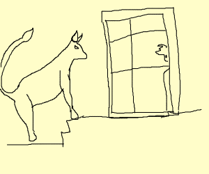 Bull standing on glass