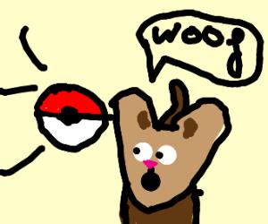 a pokeball thrown at a dog