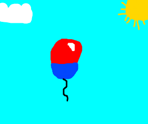 Red and blue ballon