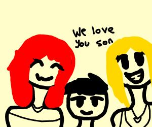 Lesbian anime parents proud of anime son