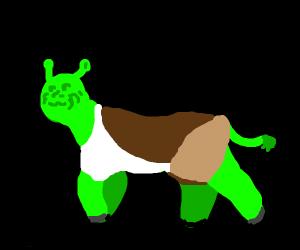 Half Shrek half cow (or might be a panda)