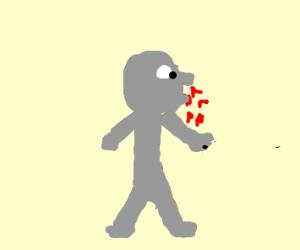 Grey guy has nosebleed