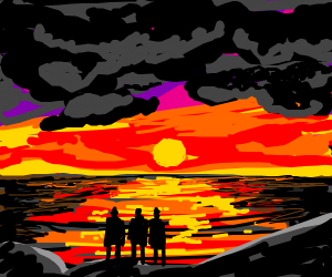 triplets looking at a sunset