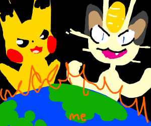 Pikachu & Meowth watch the end of the world