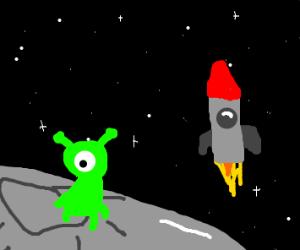 Alien on moon. spaceship in background