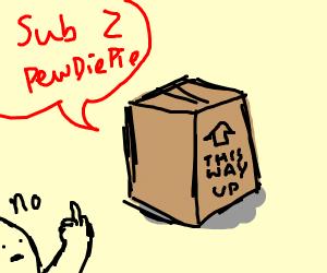 Box saying Sub 2 PewDiePie