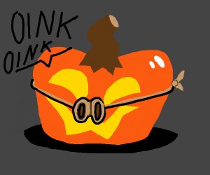 Pumpkin thinks it is a pig