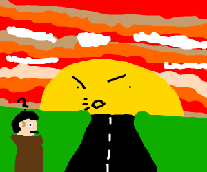Person being yelled at as the sun sets