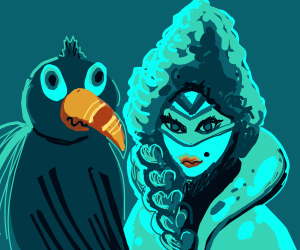 bird and fancy lady with mask