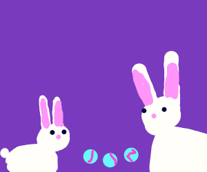 Bunnies Playing With Marbles