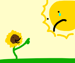 A happy sunflower laughing at a crying sun