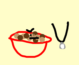 Cereal angry at necklace