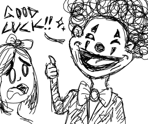 Clown wishes woman luck