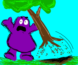 Purple Guy uprooting tree