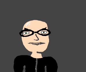 bald guy with glasses and a black hoodie