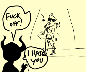 Demon doesn't like saxophone playing guy