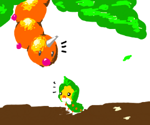 Weedle in a leaf