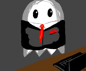 White Pac-Man ghost as CEO