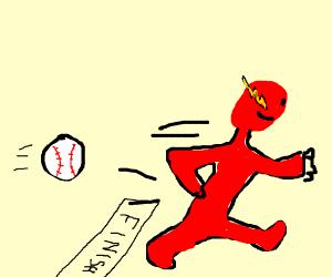 a baseball losing a race