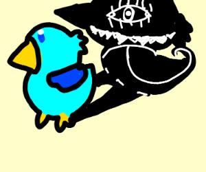 Bird with spooky shadow