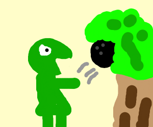 Kermit throws a bowling ball into a tree