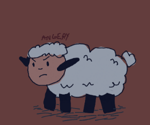 angry sheep who has Caillou for a face