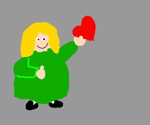 fat girl holding a heart