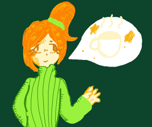person with orange hair wants black coffee