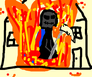 The grim reaper in a house fire