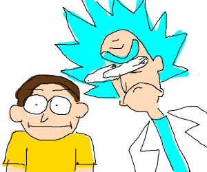 Rick Sanchez is staring at Morty intensely